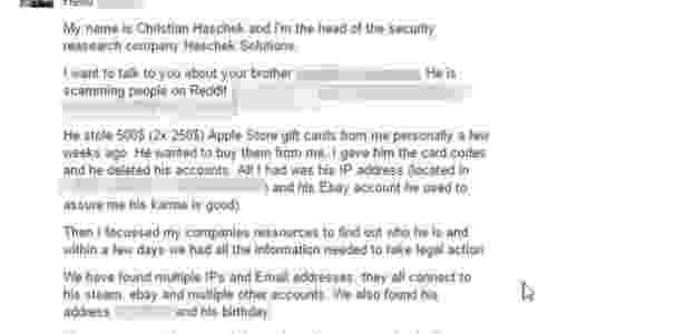 Mensagem de Haschek para o irmão do fraudador - dez minutos após lido o texto, o falsário entrou em contato, disse o especialista - Christian Haschek - Christian Haschek