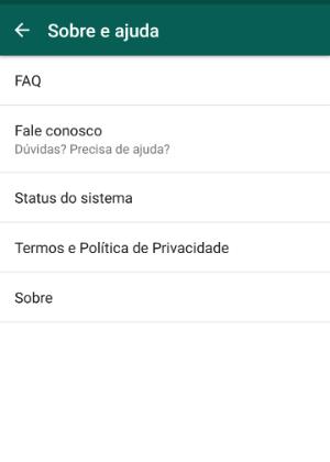 Página de ajuda do WhatsApp