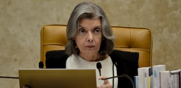 A presidente do Supremo Tribunal Federal, ministra Cármen Lúcia, durante sessão de hoje