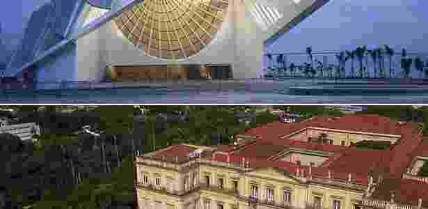 Museu do Amanhã, na parte superior da imagem, e Museu Nacional, na inferior: ambos estão no Rio - Montagem - Arte UOL