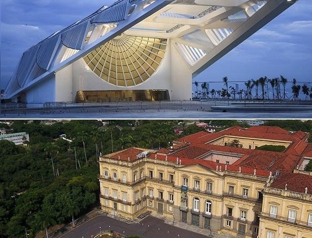 Museu do Amanhã, na parte superior da imagem, e Museu Nacional, na inferior: ambos estão no Rio