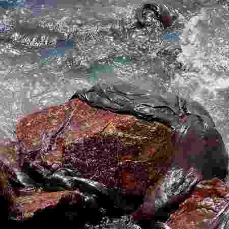 Uma mancha densa e extensa de óleo surgiu hoje no mar da praia dos Artistas, no bairro de Coroa do Meio, em Aracaju, nesta sexta-feira (4) - Divulgação/Adema