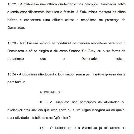 Trecho do contrato enviado por engano cita personagem de 50 Tons de Cinza - Reprodução