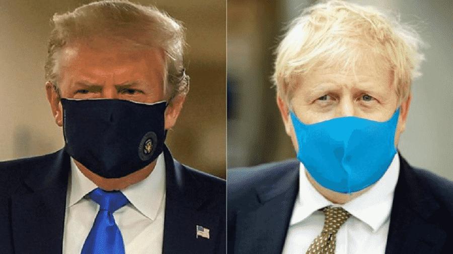 Donald Trump e Boris Johnson passaram a usar máscaras em público recentemente - REUTERS/ANDREW PARSONS MEDIA via BBC