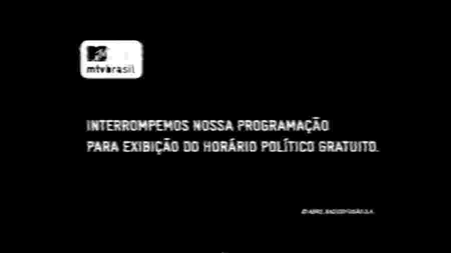 Programação interrompida da MTV para o horário polítco - Reprodução