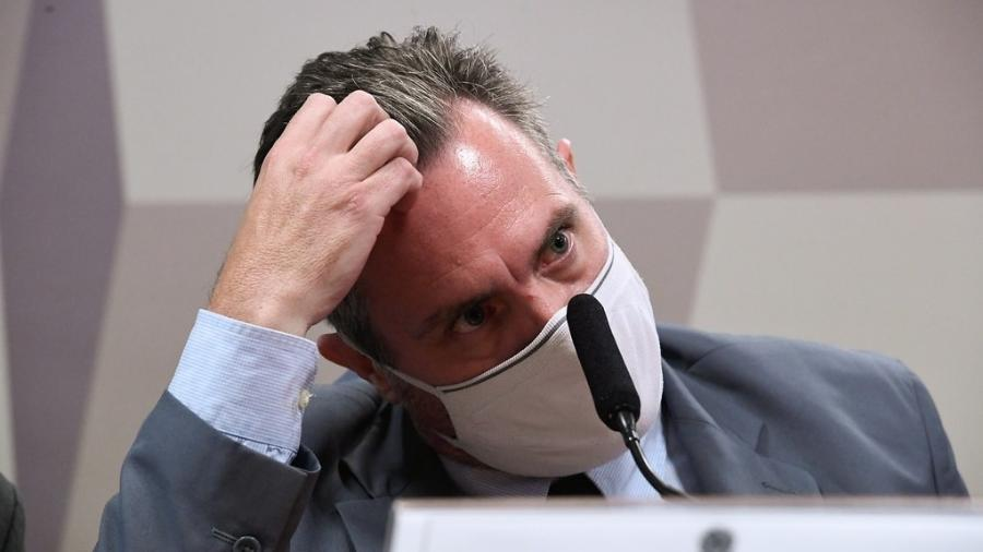 1º.jul.2021 - Luiz Paulo Dominguetti, representante da Davati Medical Supply, em depoimento à CPI da Covid - Edilson Rodrigues/Agência Senado