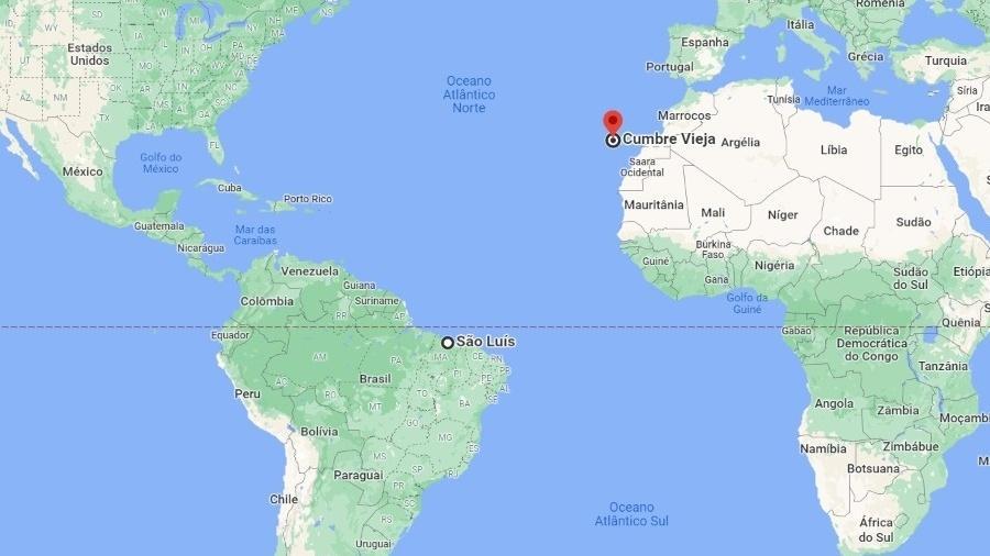 Vulcão em La Palma, na Espanha, fica a 4,4 mil km de São Luís - Reprodução Google