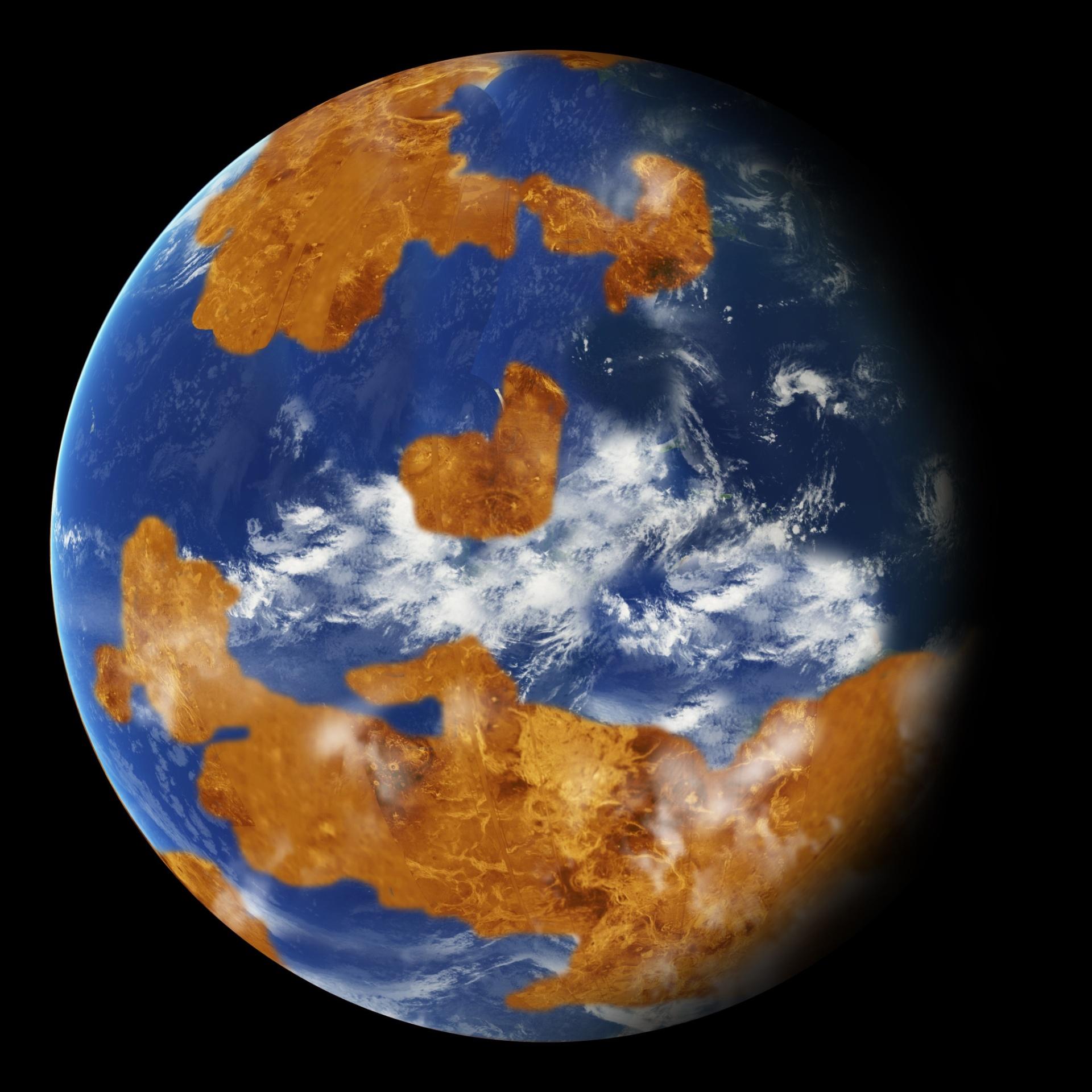 VÊNUS OU TERRA? - Acredite: em um passado distante, Vênus pode ter sido bem parecido com a Terra. De acordo com um estudo da Nasa, o planeta teve um oceano líquido e temperaturas habitáveis por até 2 bilhões de anos após sua formação, em sua história inicial. A descoberta, publicada nesta semana na Geophysical Research Letters, foi obtida com um modelo similar ao usado para prever futuras mudanças climáticas na Terra. Hoje em dia, Vênus é inabitável e sua temperatura atinge 462º C na superfície. A foto é um conceito artístico