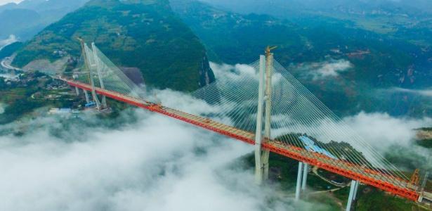 Ponte Beipanjiang vai ligar as províncias chinesas de Yunnan e Guizhou