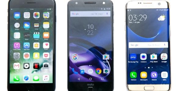 Da esq. para dir., celulares iPhone 7 Plus, Motorola Moto Z e Galaxy s7 Edge - Lucas Lima/UOL