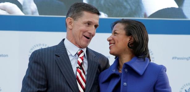 Michael Flynn, assessor de Segurança Nacional de Trump, e Susan Rice, do governo Obama