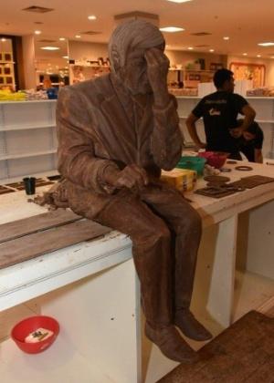 Expocolate de Uberaba cria escultura de chocolate de 200 quilos de Chico Xavier  - Divulgação Praça Uberaba Shopping