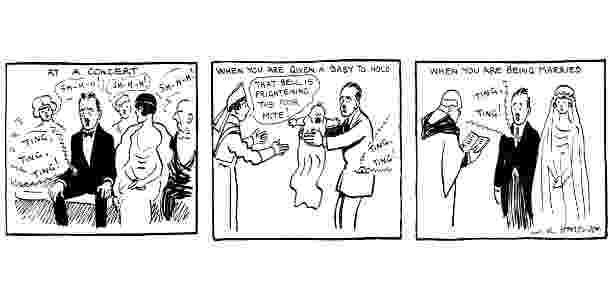"""28.mar.2018 - Tira de quadrinhos """"The Pocket Telephone: When Will It Ring?"""", de W. K. Haselden, publicada em 5 de março de 1919 - Reprodução/thenib.com - Reprodução/thenib.com"""