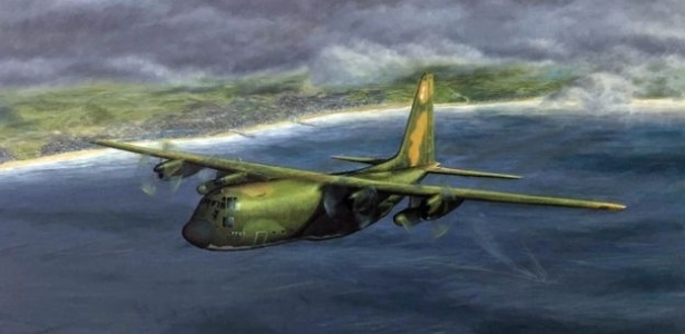 Quadro de Simon Cattlin retratando o avião de Paul Meyer - Arquivo pessoal/BBC