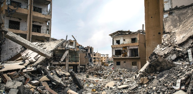 Ruínas de bairro em Raqqa, na Síria, antes dominado pelo Estado Islâmico