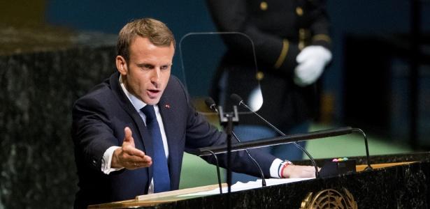 O presidente da França, Emmanuel Macron em seu discurso durante a Assembleia-Geral da ONU - Wang Ying