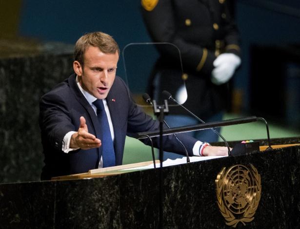 Emmanuel Macron em seu discurso durante a Assembleia-Geral da ONU - Wang Ying
