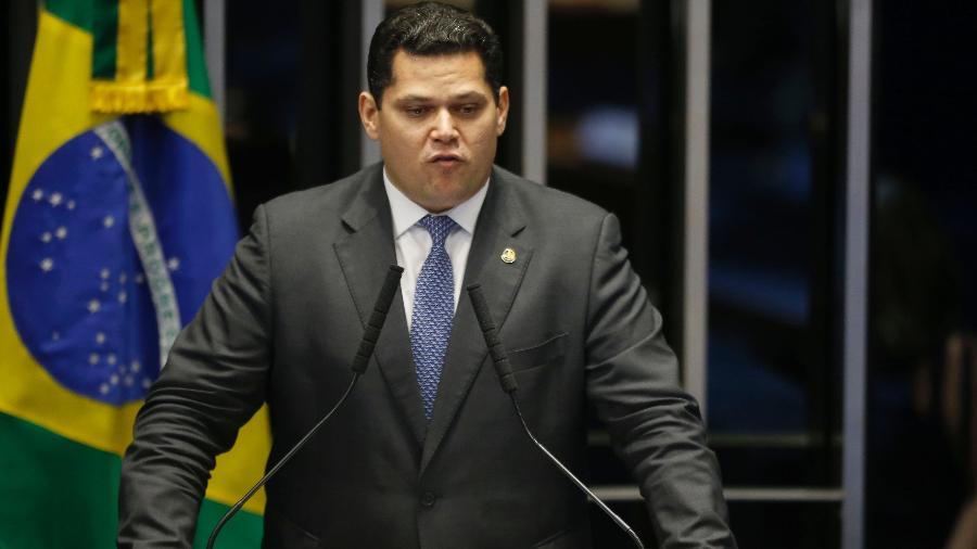 2.fev.2019 - Senador Davi Alcolumbre (DEM-AP) discursa  - Dida Sampaio/Estadão Conteúdo