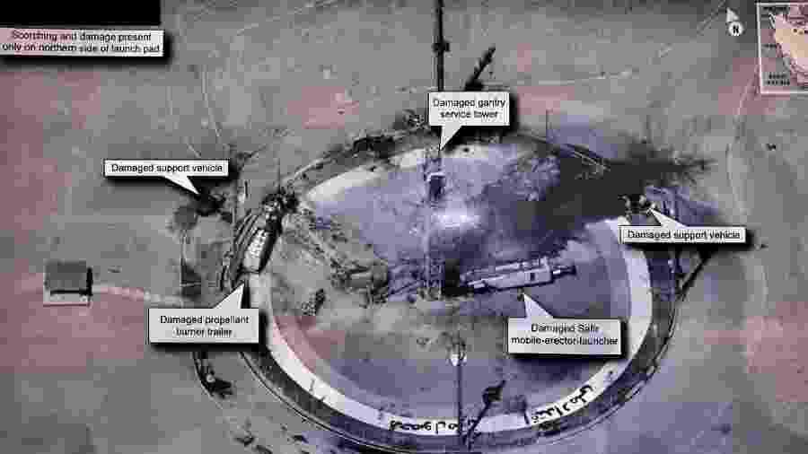 Esta imagem em alta resolução compartilhada por Donald Trump de uma suposta plataforma de lançamento espacial iraniana gerou polêmica por poder revelar informações militares confidenciais dos EUA - Reprodução/Twitter