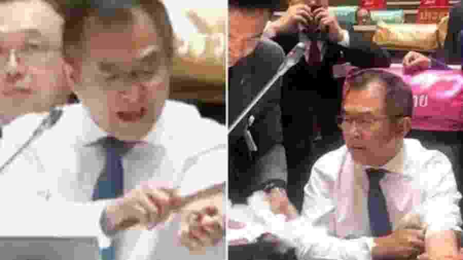 Wisarn Techatheerawat cortou o punho esquerdo depois de criticar o primeiro-ministro da Tailândia - Reprodução