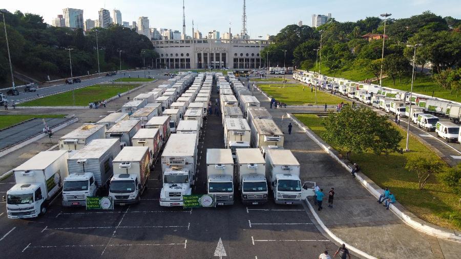 Em São Paulo, nesta semana caminhoneiros do setor frigorífico protestaram contra o aumento do ICMS no estado. Categoria de caminhoneiros é considerada um importante grupo de apoio de Bolsonaro - Ronaldo Silva/Futura Press/Estadão Conteúdo