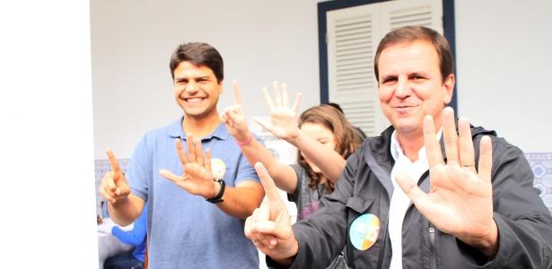 Pedro Paulo e Eduardo Paes durante campanha à Prefeitura do Rio de Janeiro