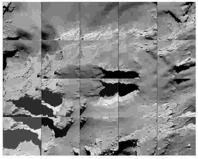 """3.out.2016 - O local de impacto da sonda Rosetta no cometa 67P/Churyumov-Gerasimenko recebeu o nome de Sais em homenagem à cidade no Egito que teria abrigado originariamente a Pedra de Roseta. Essa pedra, crucial para a compreensão dos hieróglifos egípcios e inspiradora do nome da missão ao cometa, foi encontrada na cidade de Roseta, mas teria sido retirada de Sais. """"É como se pudéssemos dizer que a Rosetta voltou para o seu lar em Sais"""", disse Patrick Martin, diretor da missão da ESA (Agência Espacial Europeia). Na imagem, Sais é fotografada durante a descida da Rosetta - ESA"""