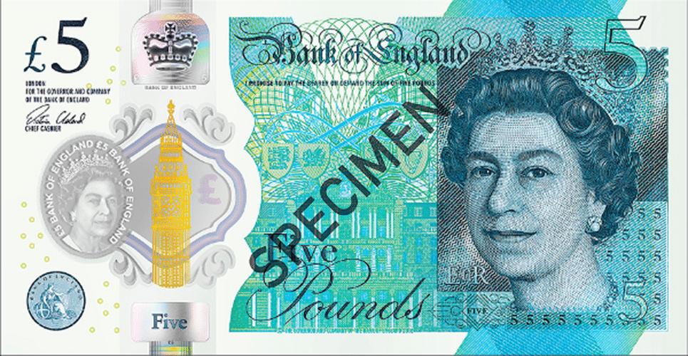 Oscar da Moeda: nota de 5 libras esterlinas, emitida pelo banco central da Inglaterra