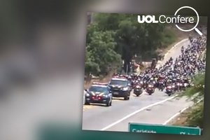 Caravana de motos foi romaria no Ceará e não um ato de apoio a Bolsonaro (Foto: Arte/UOL)