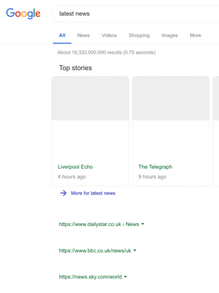 Exemplo de resultado de busca do Google sem conteúdo protegido por direito autoral - Reprodução - Reprodução