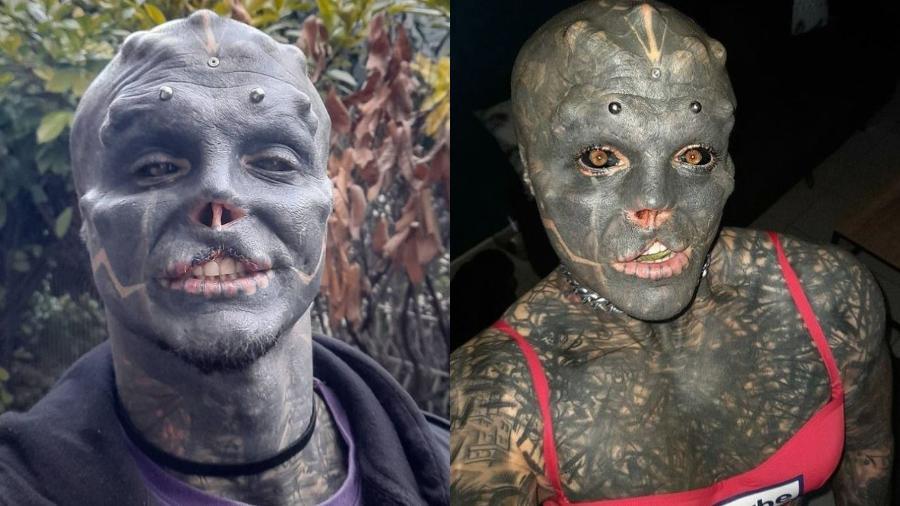 Anthony compartilha as suas modificações corporais com seus mais de 280 mil seguidores no Instagram - Reprodução/Instagram/@the_black_alien_project