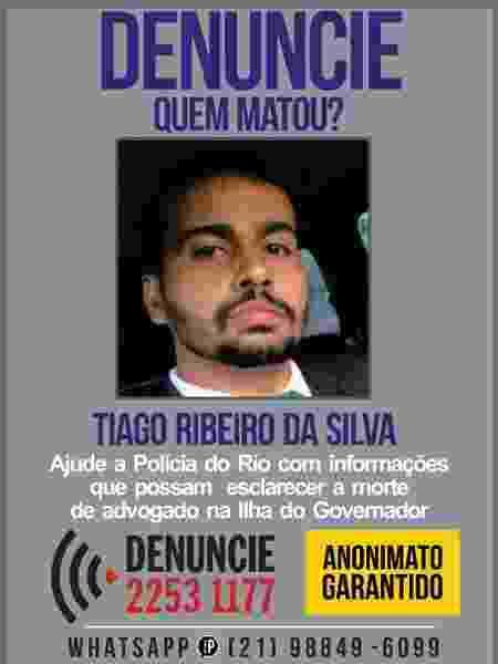 Cartaz tenta ajudar na solução da morte de Tiago Ribeiro da Silva - Divulgação/Disque Denúncia - Divulgação/Disque Denúncia