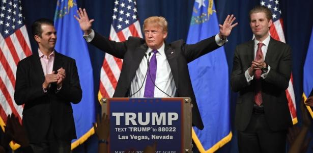 Trump comemora em Las Vegas a vitória na prévia de Nevada, sua terceira seguida rumo à indicação do Partido Republicano para concorrer à Casa Branca