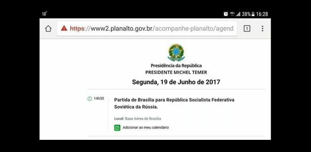 Imagem da agenda do Palácio do Planalto com o erro foi compartilhada nas redes sociais