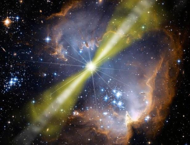 Ilustração artística sobre a explosão de raios gama