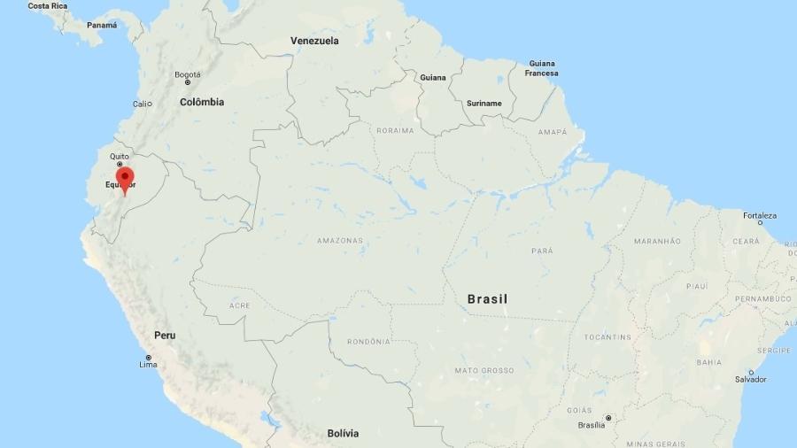 22.fev.2019 - um terremoto de 7.5 graus atingiu Morona Santiago, no Equador, região amazônica na fronteira com o Peru - Reprodução/Google Maps