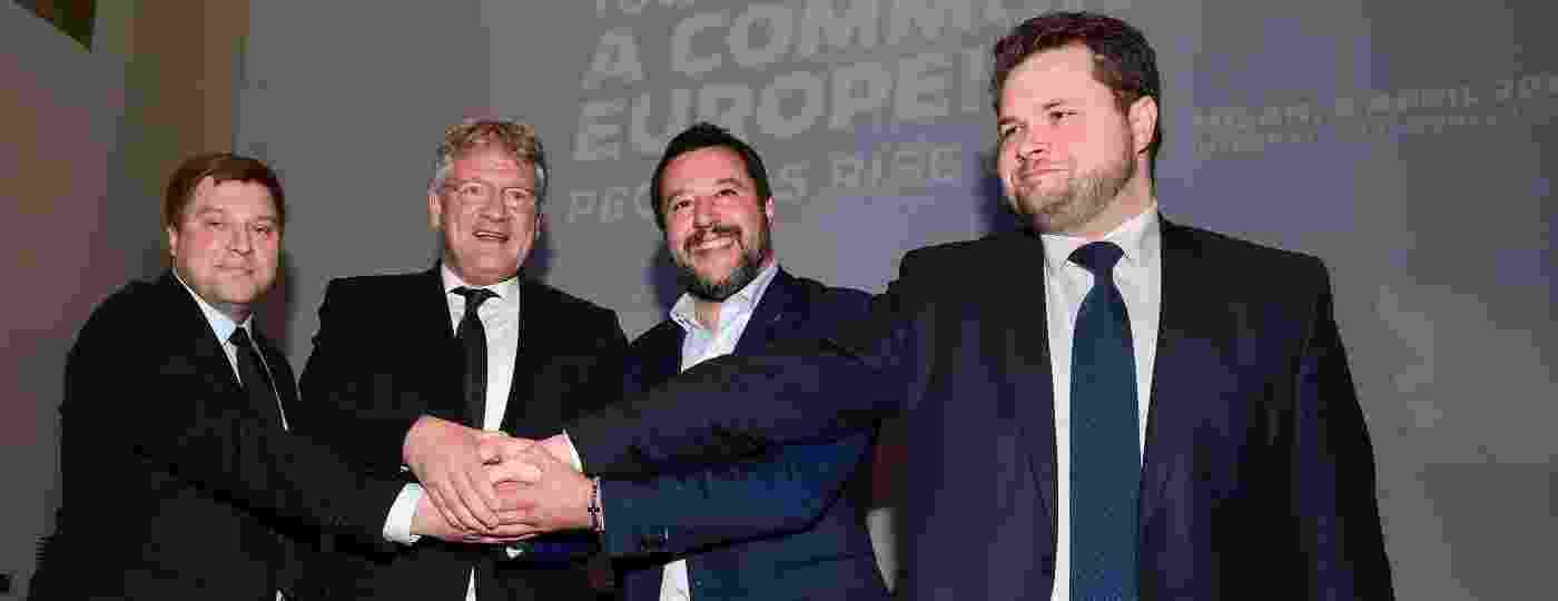 Italiano Matteo Salvini (2º da direita para a esquerda na foto), lançou uma aliança de partidos nacionalistas e de extrema direita de olho nas próprimas eleições para o Parlamento Europeu - Getty Images
