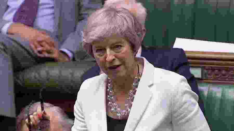 Theresa May discursa na Câmara dos Comuns a favor do novo acordo do Brexit - Parliament TV via Reuters