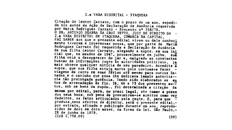 O desaparecimento de Leonor Carrato em meados de 1967 foi registrado por sua mãe, Maria, em 1979  - Reprodução do Diário Oficial de São Paulo de 9/7/1980 - Reprodução do Diário Oficial de São Paulo de 9/7/1980