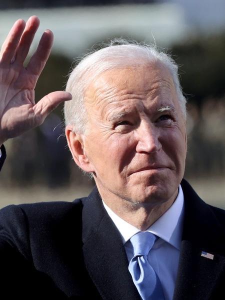 20 jan. 2021 - O Presidente Joe Biden durante cerimônia no Capitólio - Pool/Getty Images
