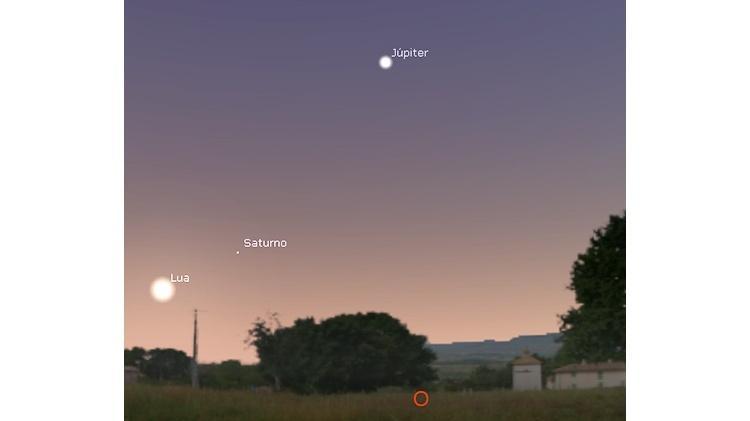 Lua, Saturno e Júpiter na madruada - Dulcidio Braz Jr / Física na veia - Dulcidio Braz Jr / Física na veia