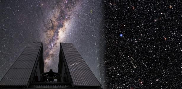 Telescópio NTT e a estrela ultrapobre em metais 2MASS J18082002-5104378 (no retângulo amarelo) - Agência Fapesp/ESO/Beletsky/DSS1 + DSS2 + 2MASS