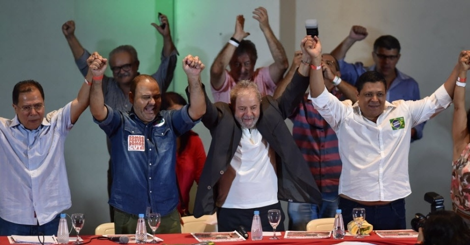 23.mar.2016 - Ex-presidente Luiz Inácio Lula da Silva participa de evento com sindicalistas em São Paulo contra o impeachment da presidente Dilma Rousseff