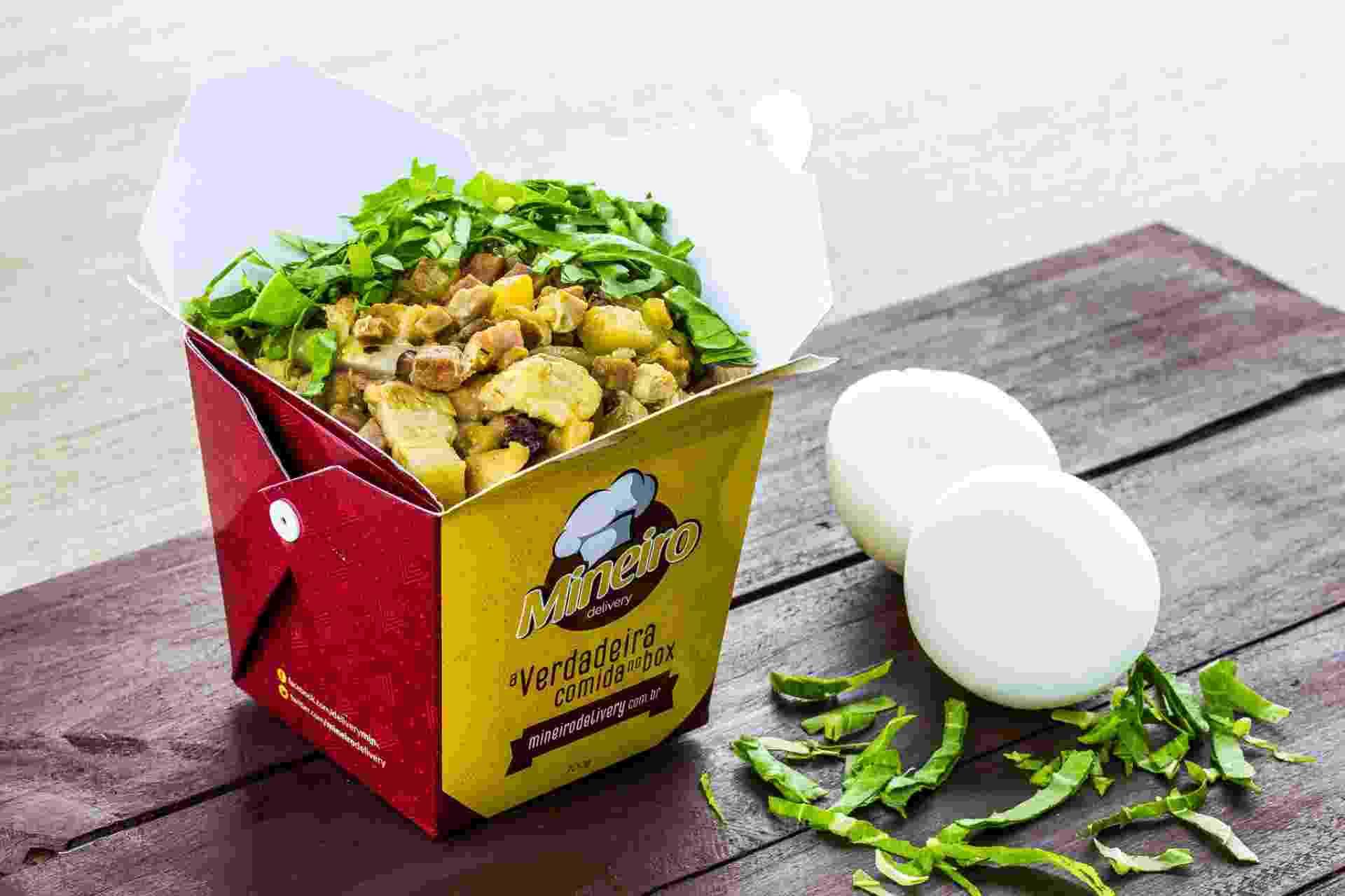 A franquia Mineiro Delivery foi criada pelos irmãos Marlon e Gabriel Ventura , de São José do Rio Preto, para vender marmitex em box. Na foto, o prato costelinha. O executivo (400g) custa R$ 12 e o padrão (700g), R$ 16 - Divulgação