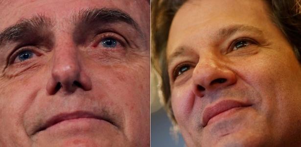 Bolsonaro (esq.) quer direito de resposta contra Haddad no horário eleitoral