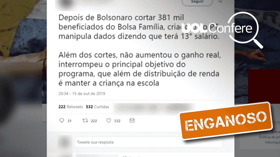18.out.2019 - Post traz conteúdo enganoso sobre o 13º do Bolsa Família - Arte/UOL