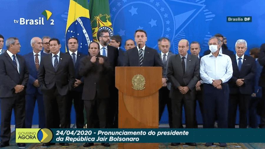Jair Bolsonaro, em pronunciamento após demissão de Sergio Moro - Reprodução/TV Brasil