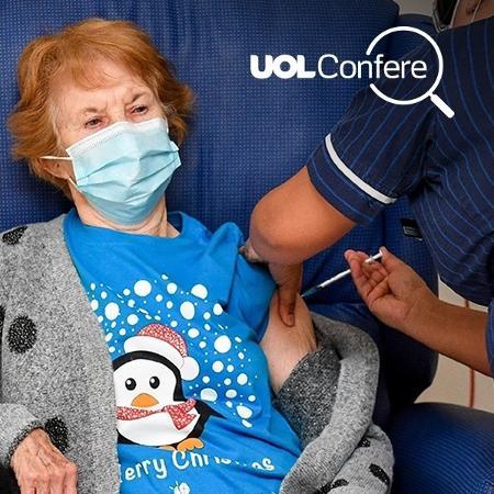 Margaret Keenan, 90 anos, foi a primeira a receber vacina contra covid-19 no Reino Unido, em dezembro de 2020 - Jacob King/AFP
