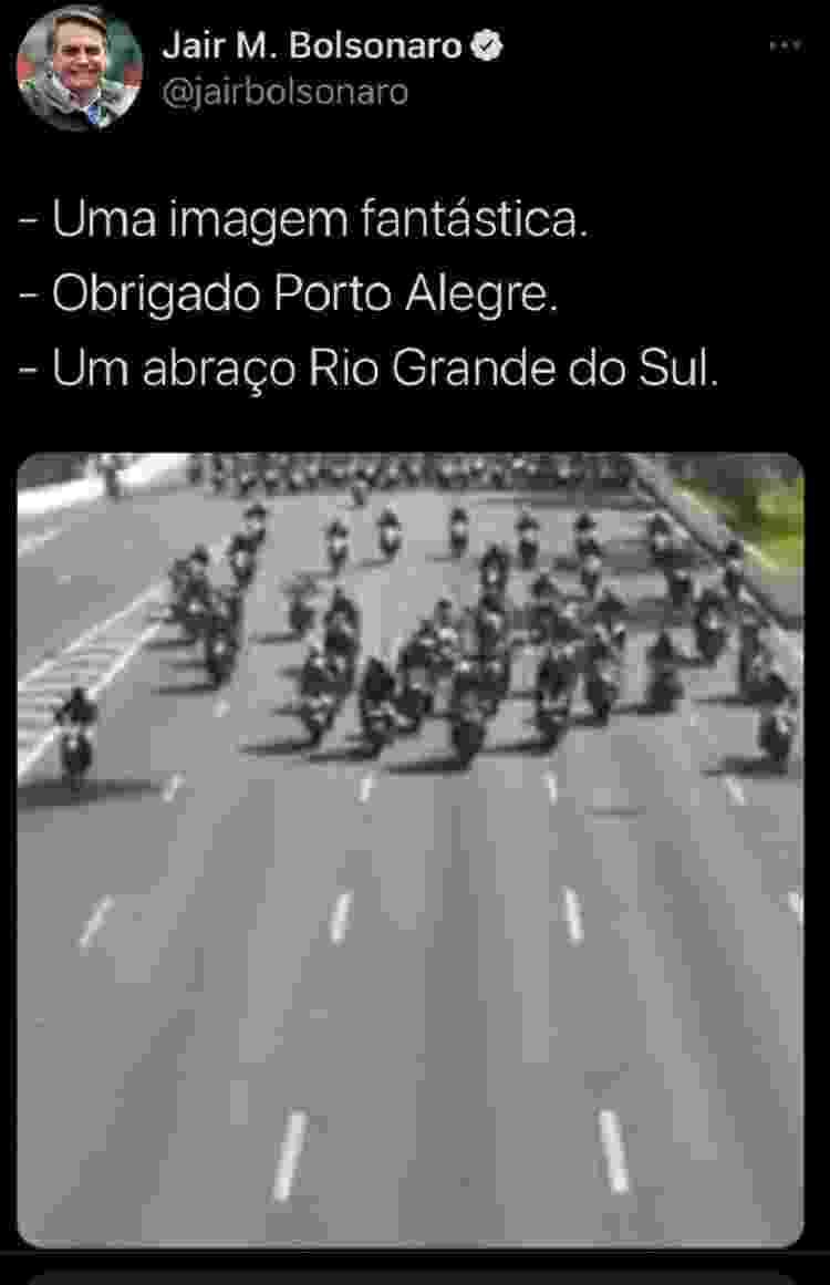Bolsonaro posta vídeo errado de motociata e apaga após comentários de apoiadores - Reprodução - Reprodução