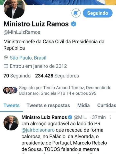 Ramos ainda se descreve como ministro da Casa Civil  - reprodução/twitter